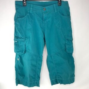 Kuhl Performance Cargo Teal Capri Roll Shorts 12